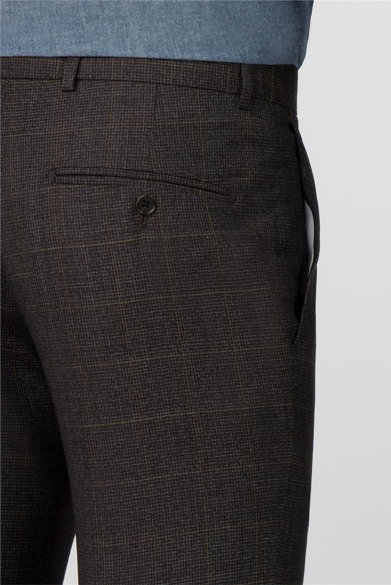 Brown Puppytooth Tailored Fit Trousers