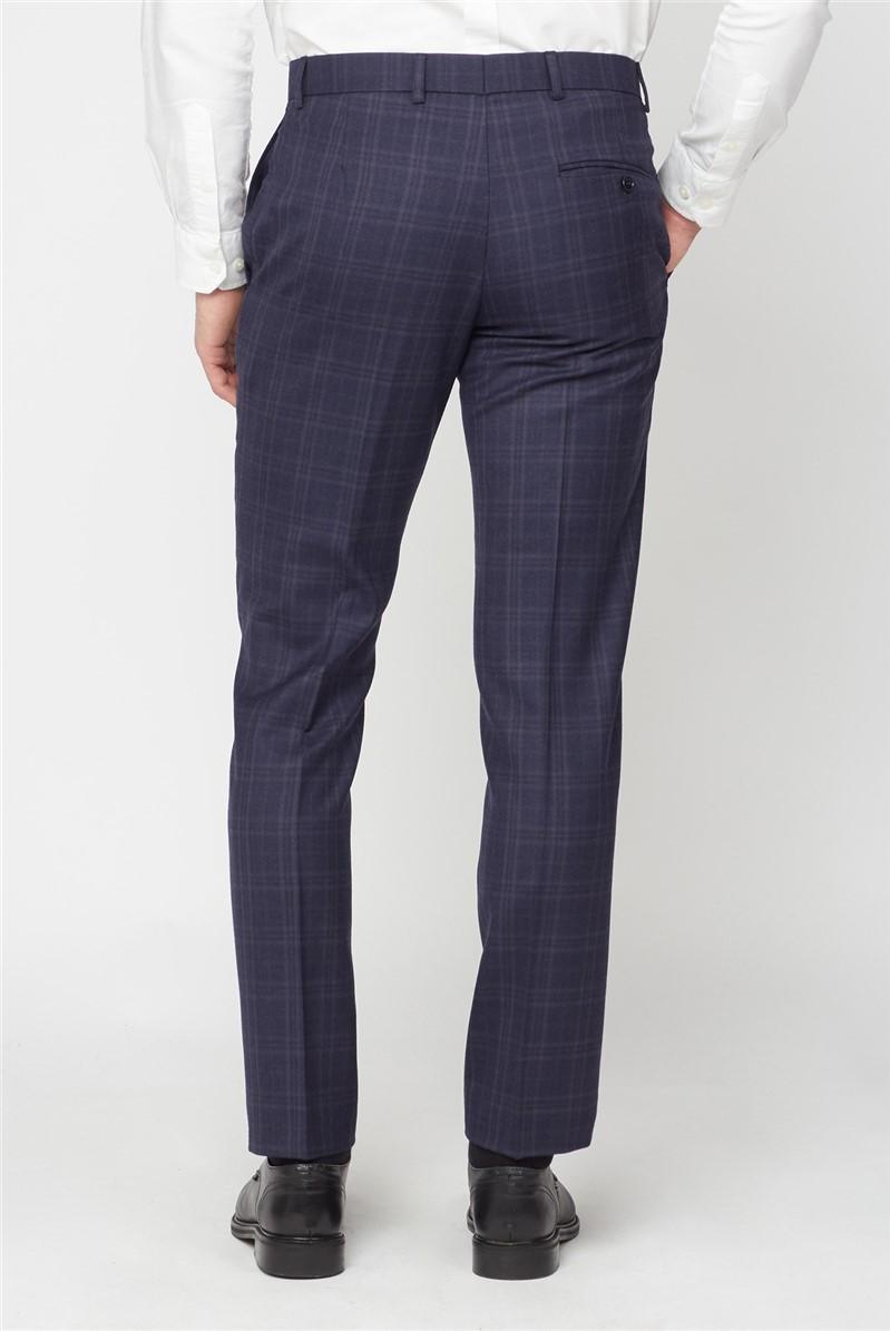 Enham Navy Check Tailored Fit Trouser