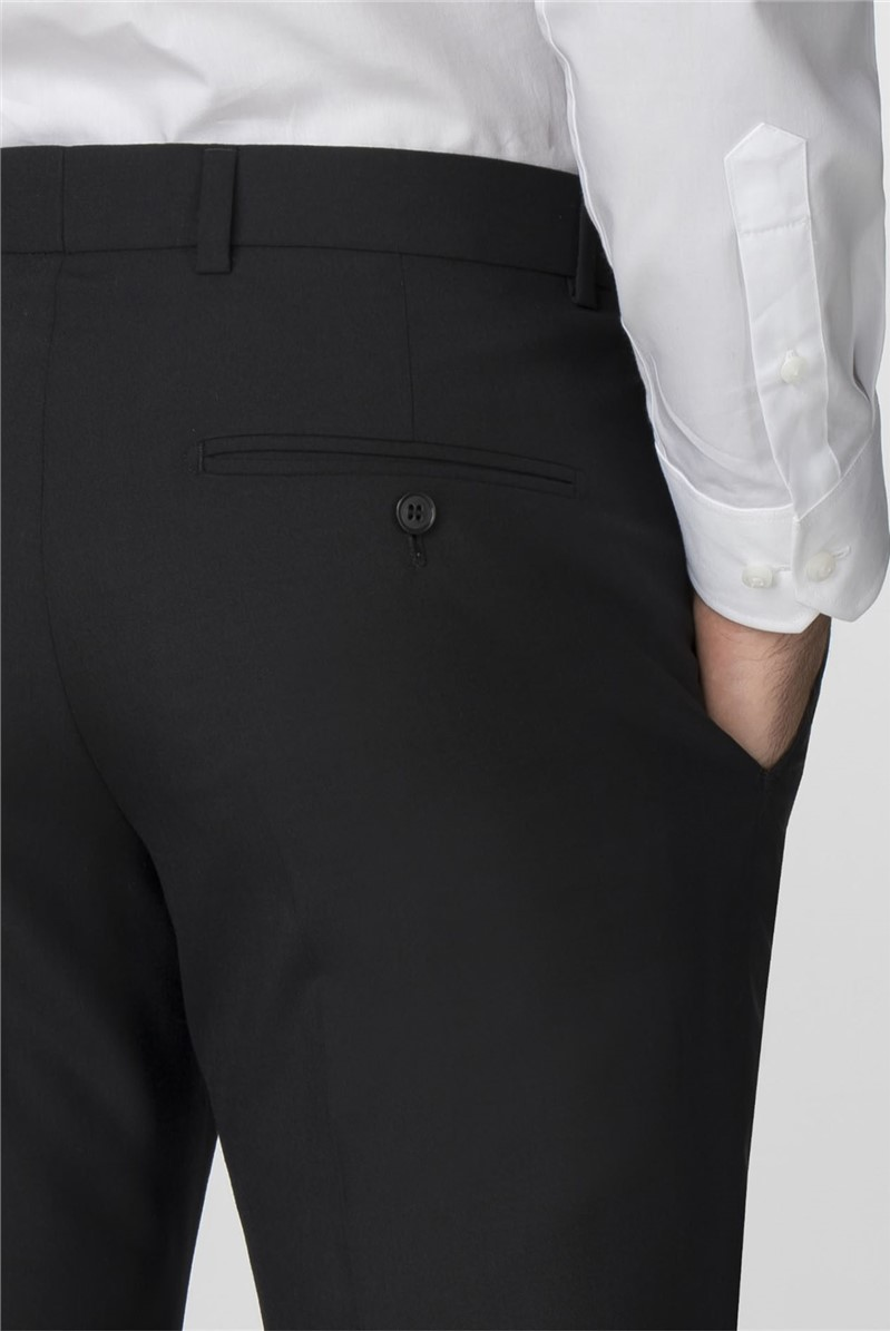 Black Panama Tailored Fit Trousers