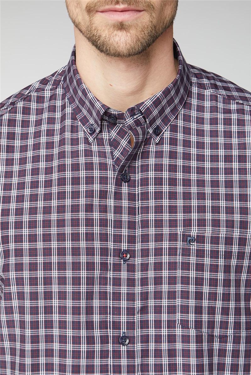 Long Sleeve Navy Check Shirt