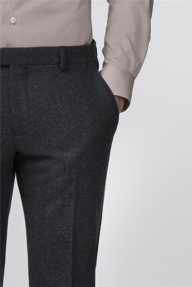 Grey Donegal Tweed Slim Fit Trousers