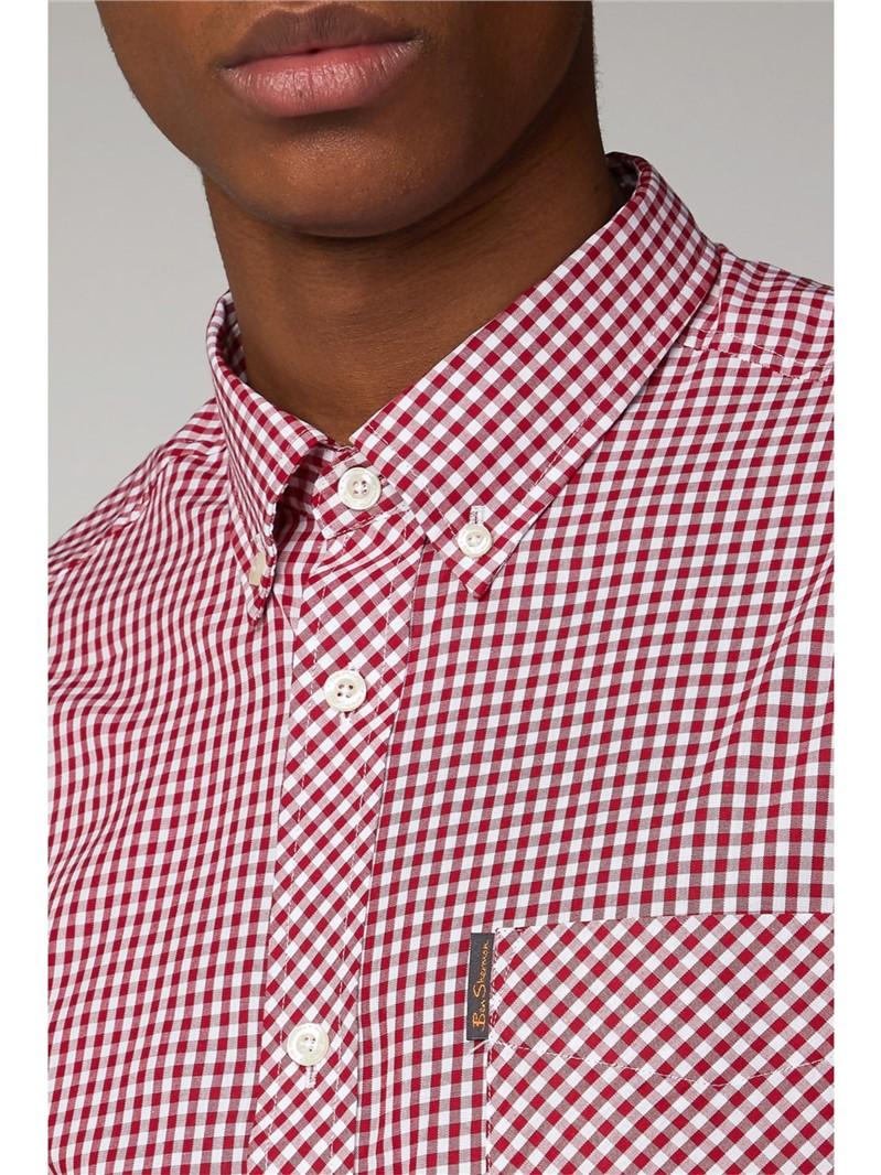 Red Long Sleeved Gingham Shirt