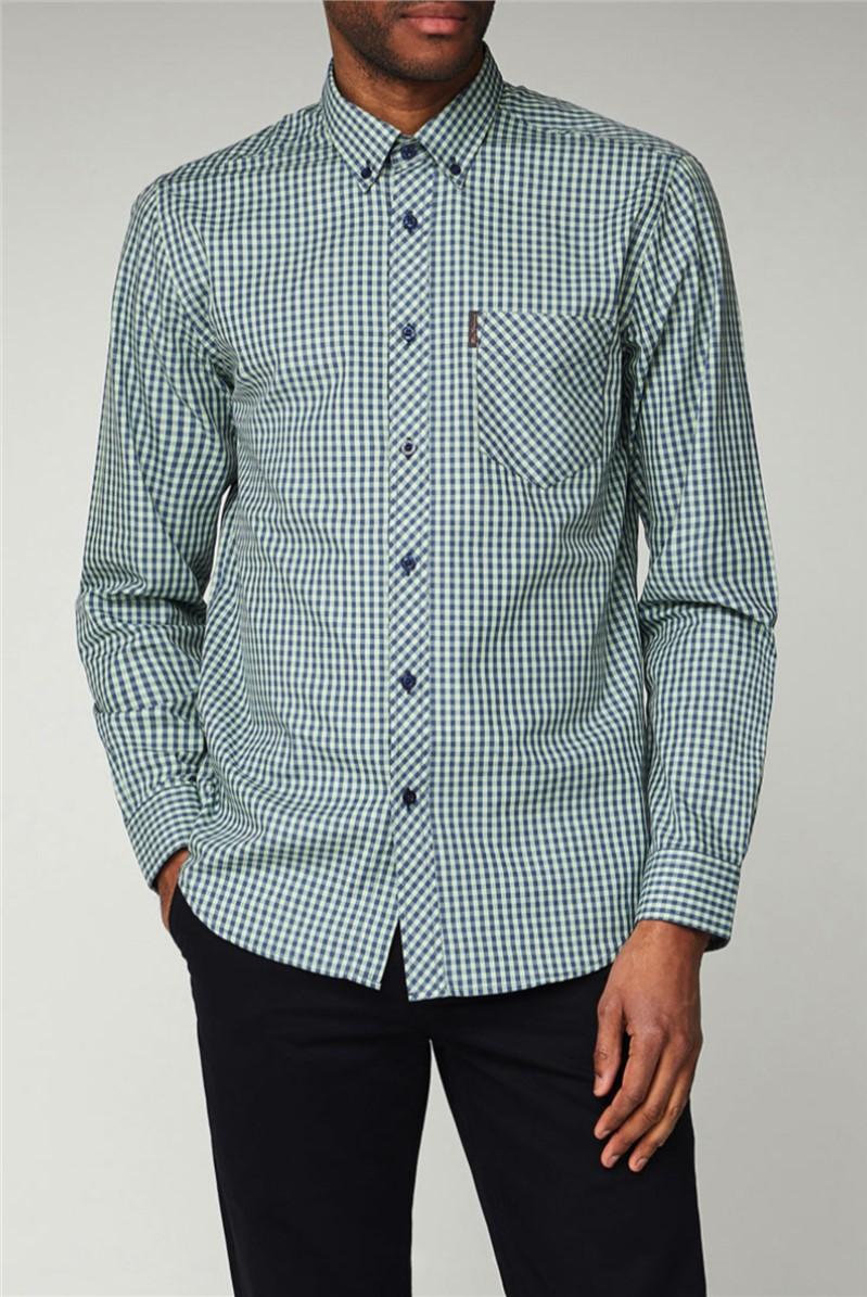 Mint Green Long Sleeved Gingham Shirt
