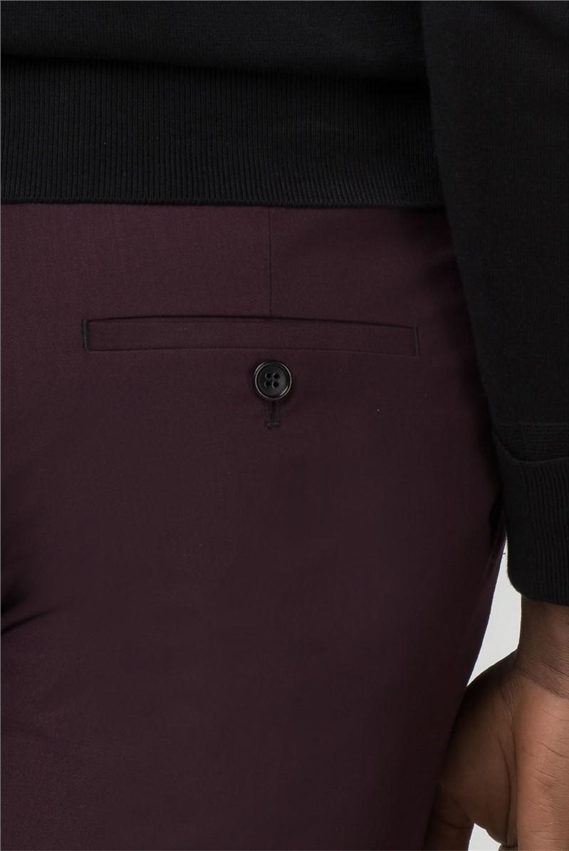 Burgundy Twill Slim Fit Trousers
