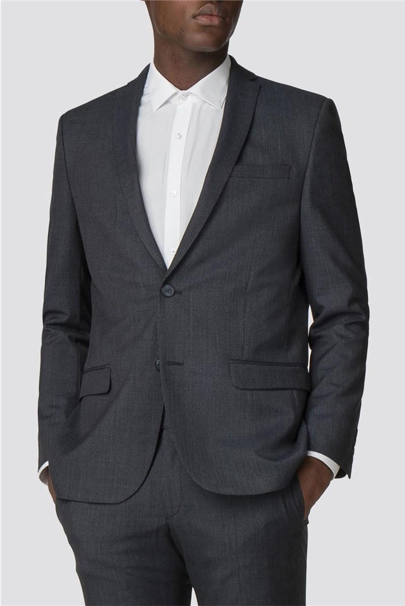 Blue Grey Semi Plain Slim Fit Trousers