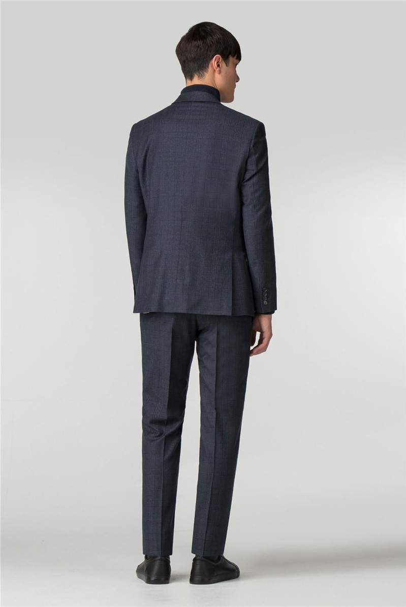 Navy with Blue Overcheck Slim Fit Suit