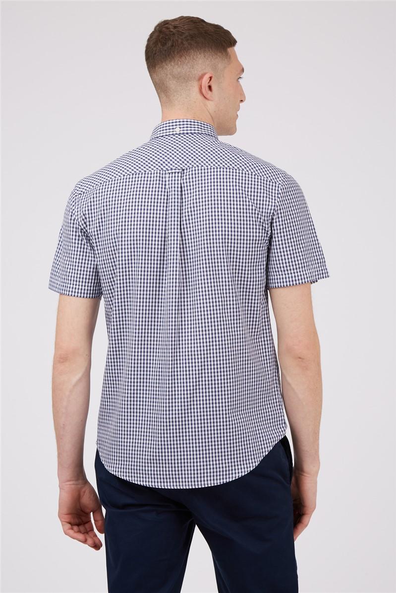 Short Sleeved Navy Gingham Shirt