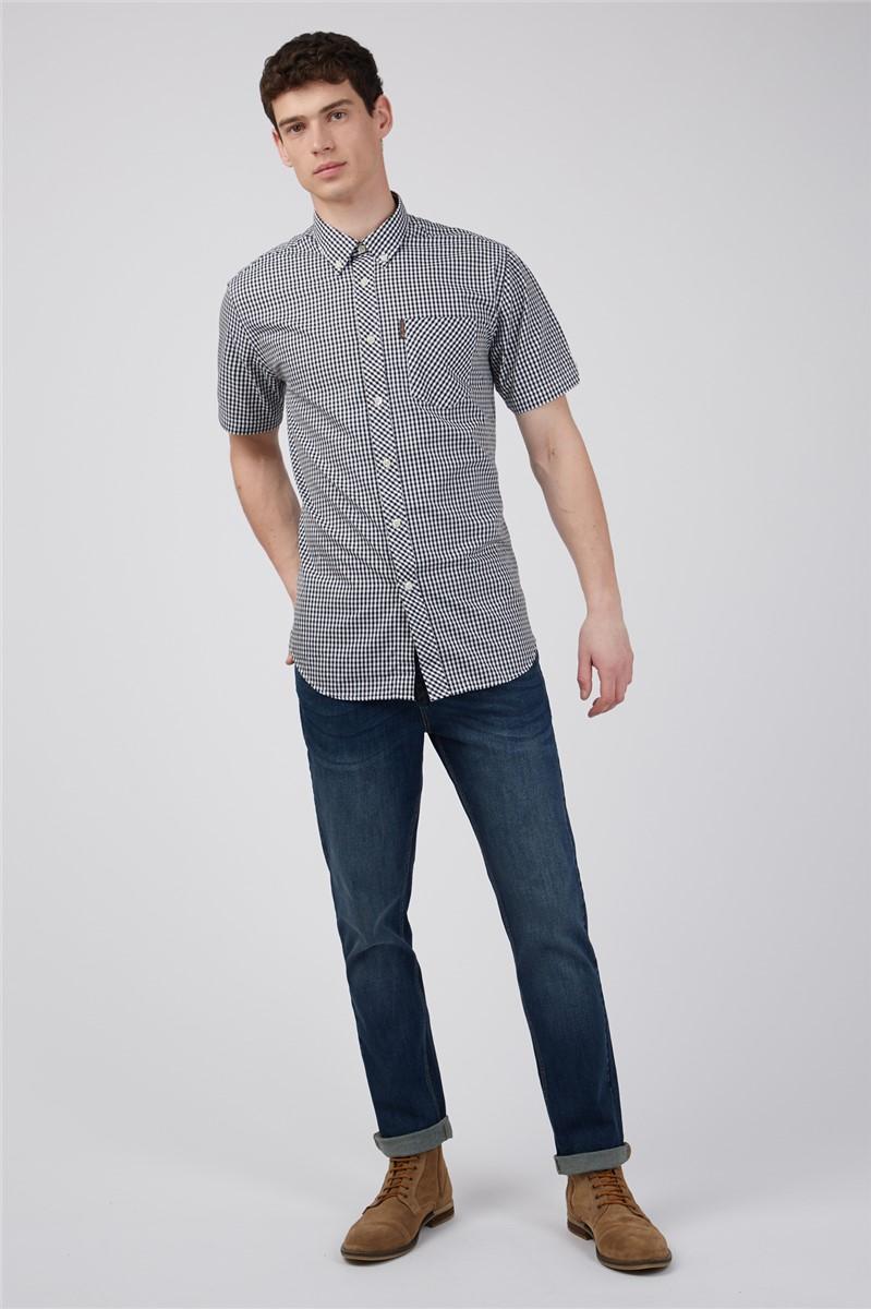 Short Sleeved Black Gingham Shirt