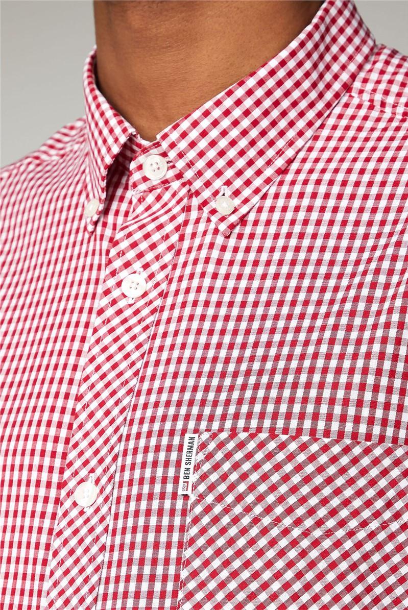 Red Short Sleeved Gingham Shirt