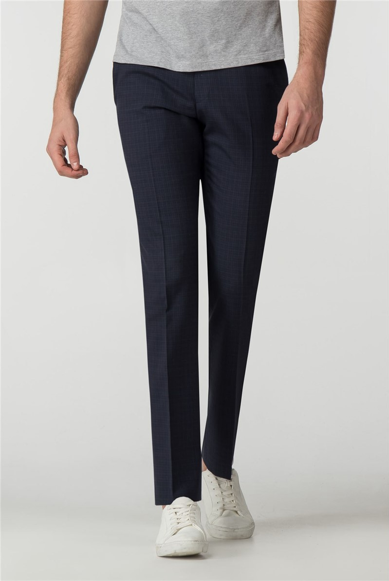 Tailored Fit Navy Micro Check Suit Trouser