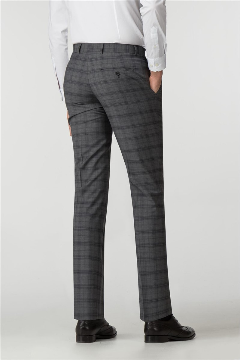 Tailored Fit Grey Check Suit Trouser