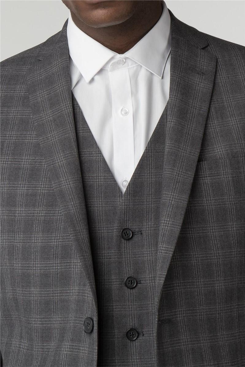 Grey Check Slim Fit Waistcoat