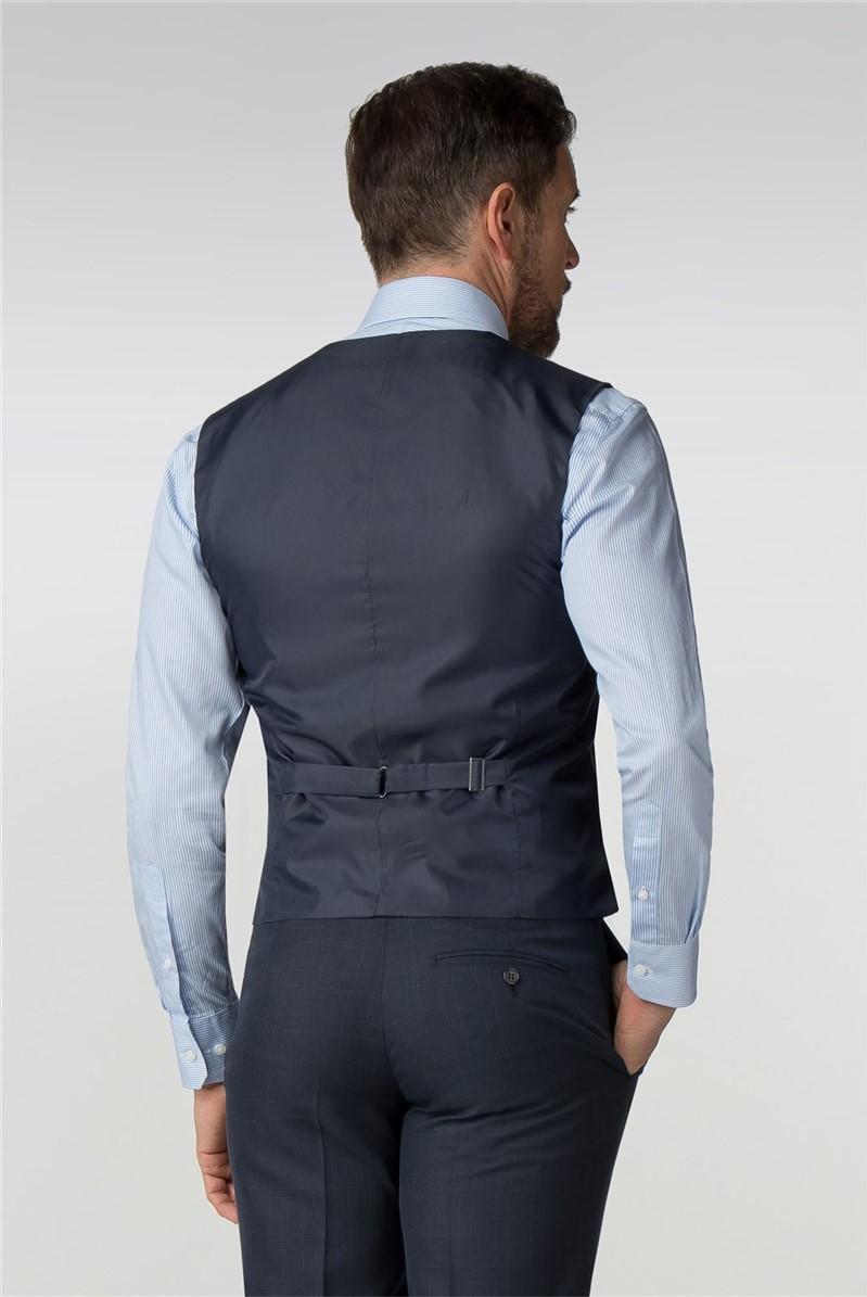 Tailored Navy Check Waistcoat