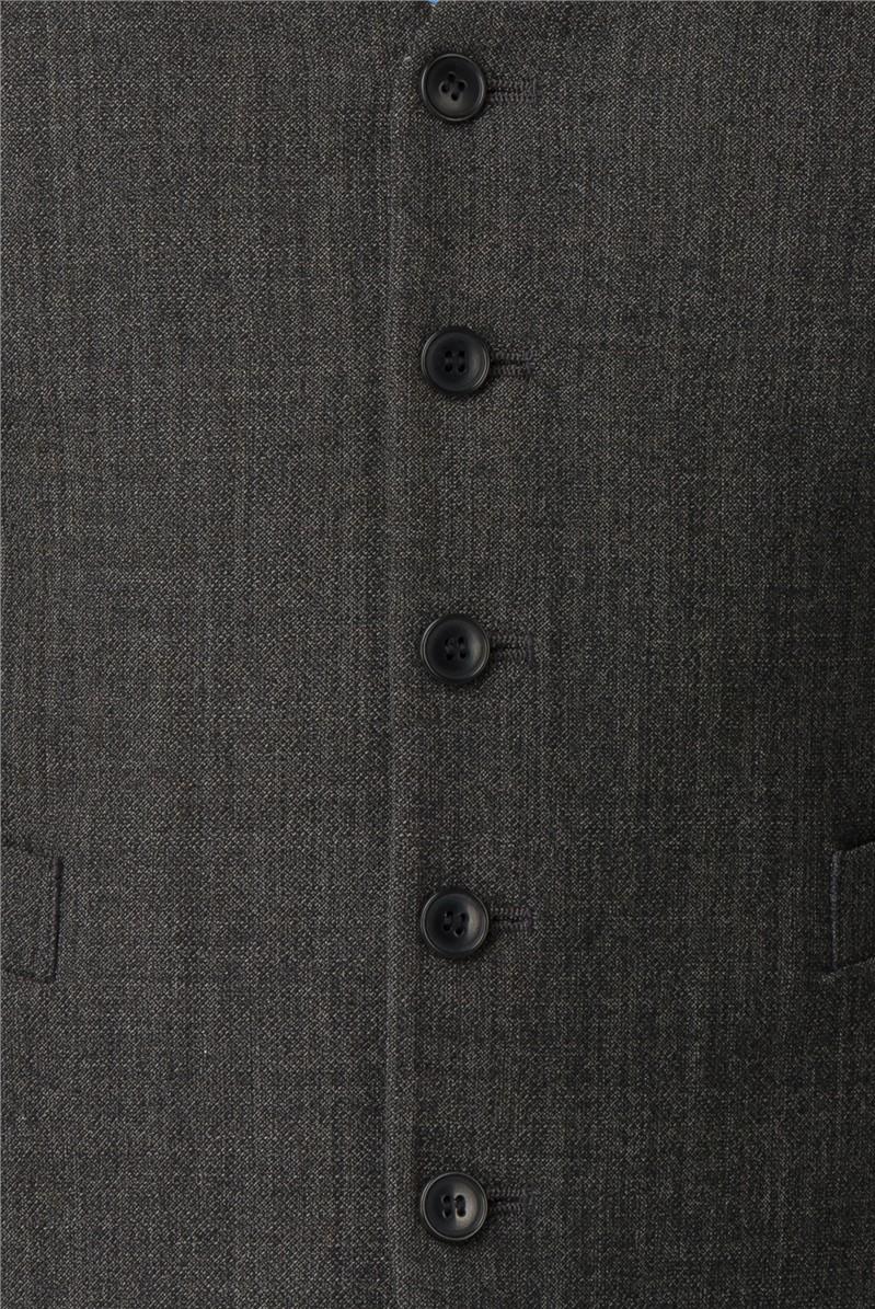 Charcoal Texture Wool Blend Regular Fit Travel Suit
