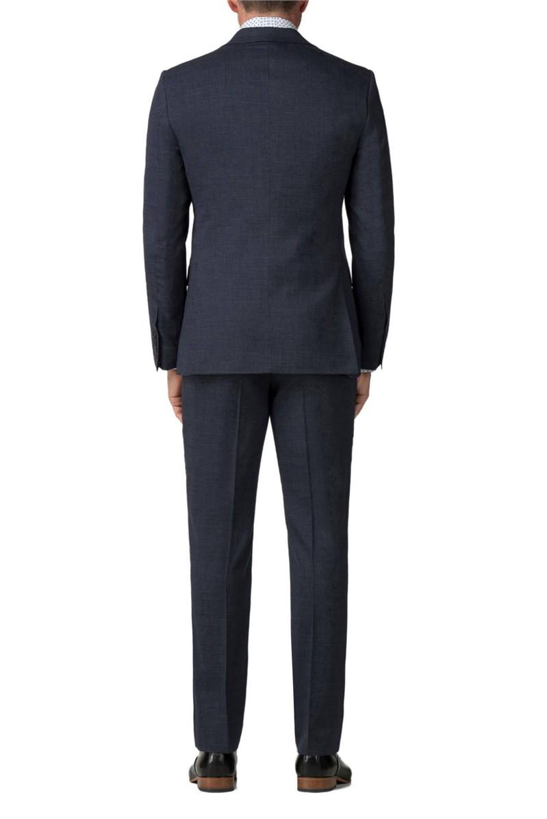 Navy Textured Regular Fit Travel Suit