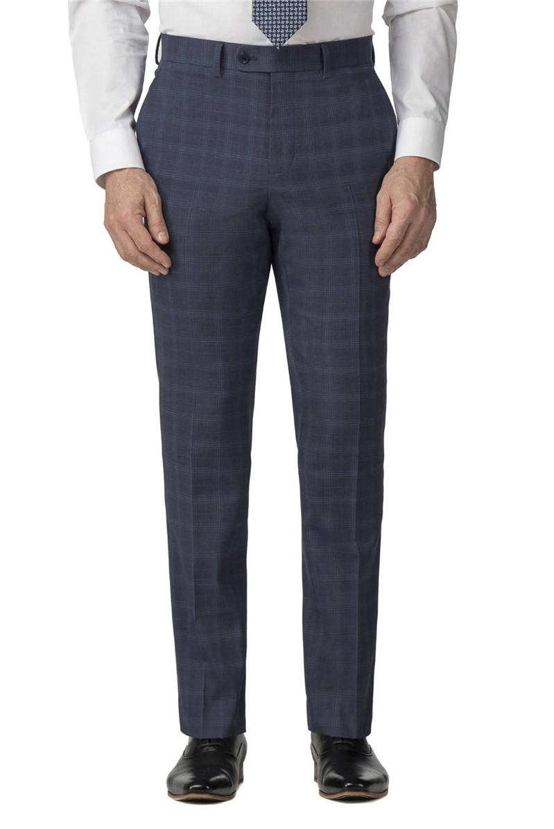 Blue Check Regular Fit Travel Suit Trouser