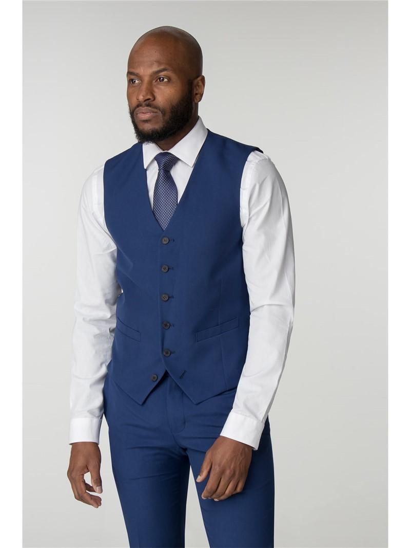 Stvdio Blue Plain Super Slim Fit Brit Suit