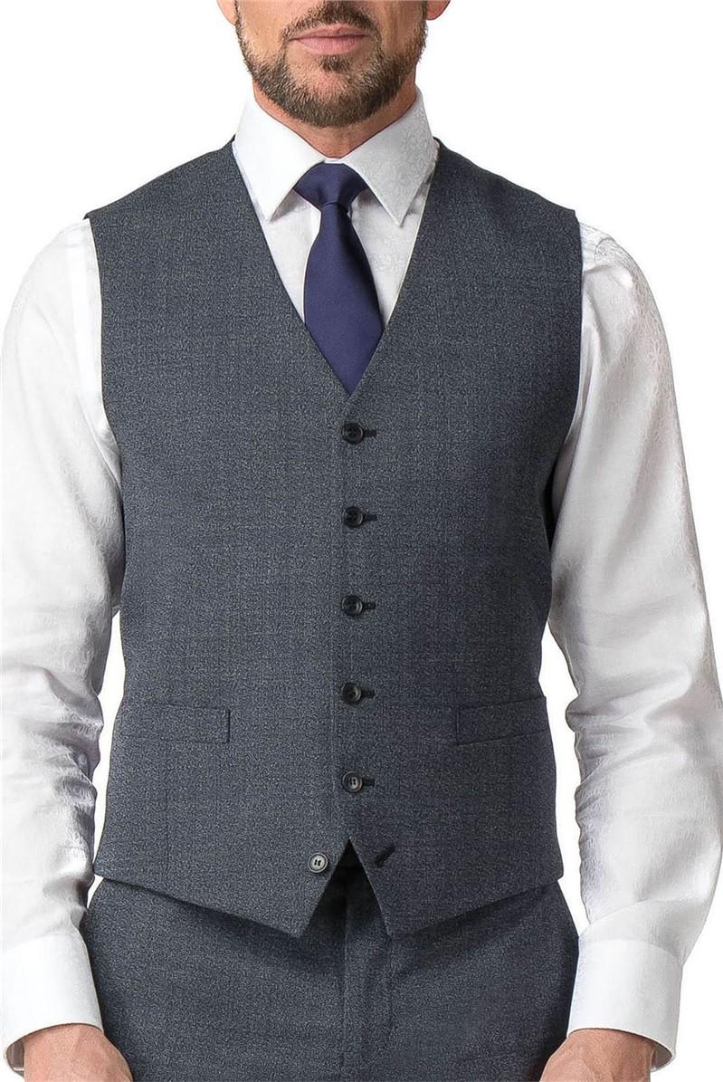 Stvdio Blue Grey Texture Tailored Fit Waistcoat
