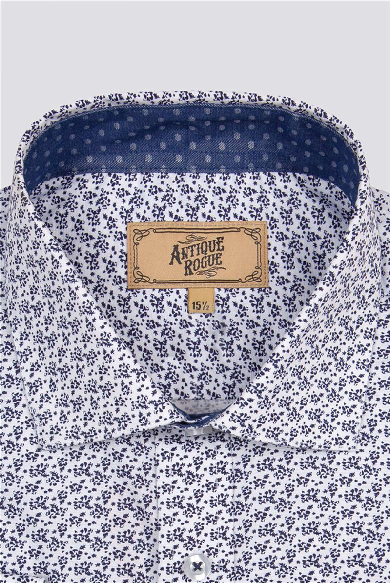 Blue and White Floral Print Shirt