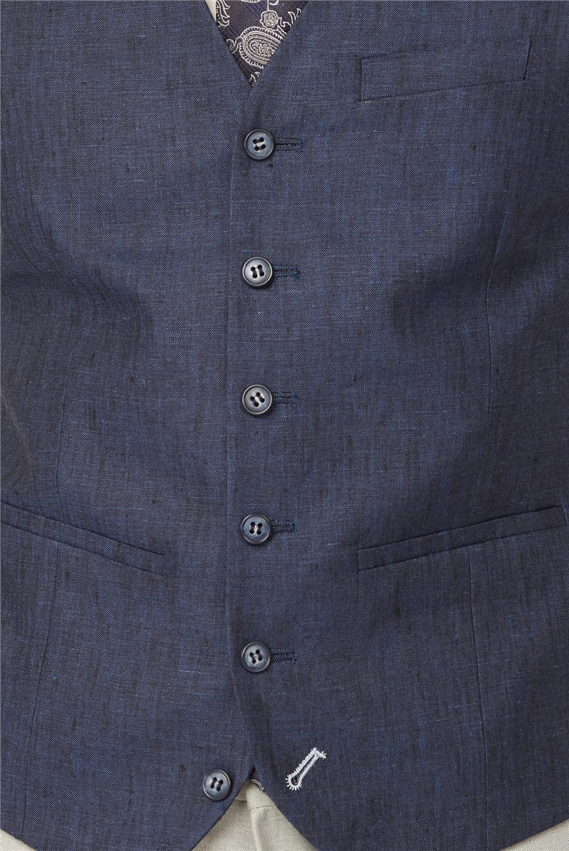 Blue Pure Linen Tailored Fit Waistcoat