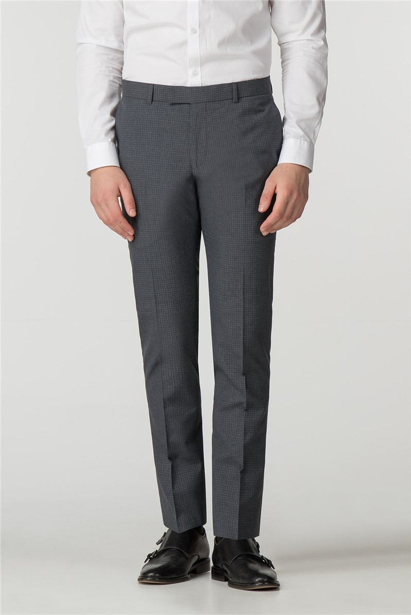 Grey Micro Check Skinny Fit Trousers