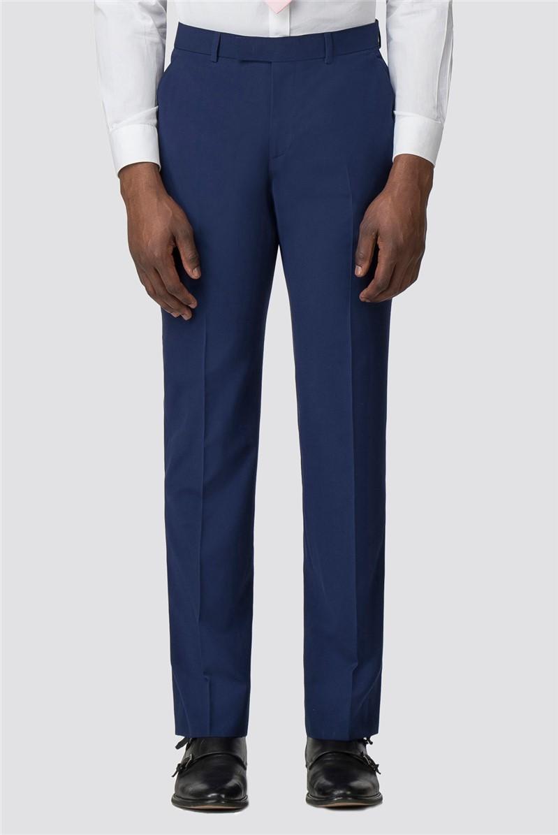Blue Plain Tailored Fit Trouser