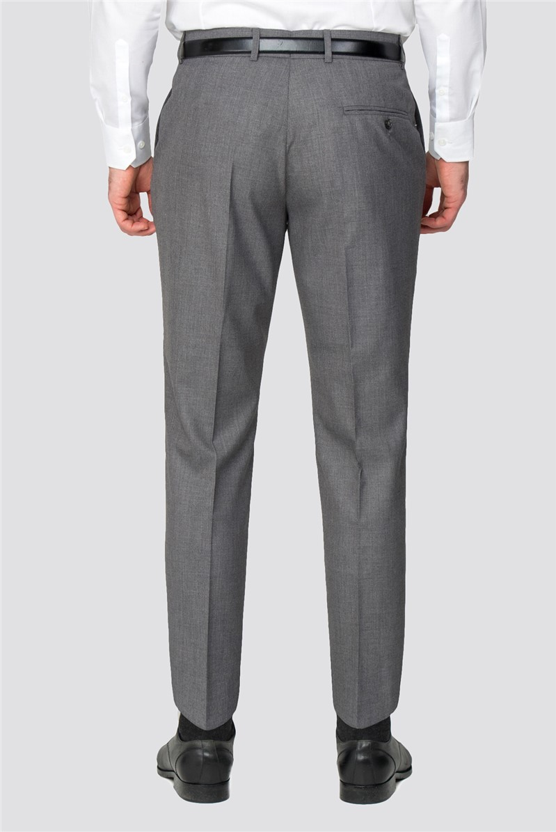 Grey Plain Regular Fit Trouser