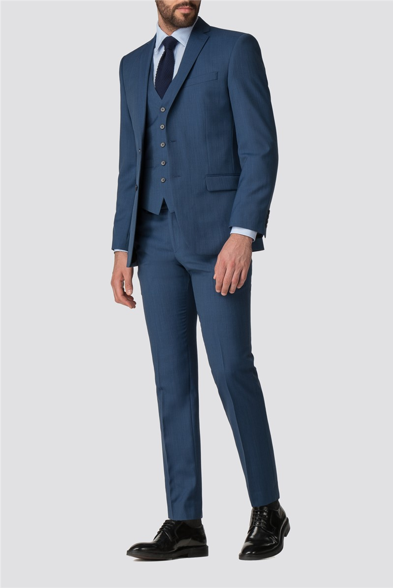 Bright Blue Pick and Pick Suit Waistcoat