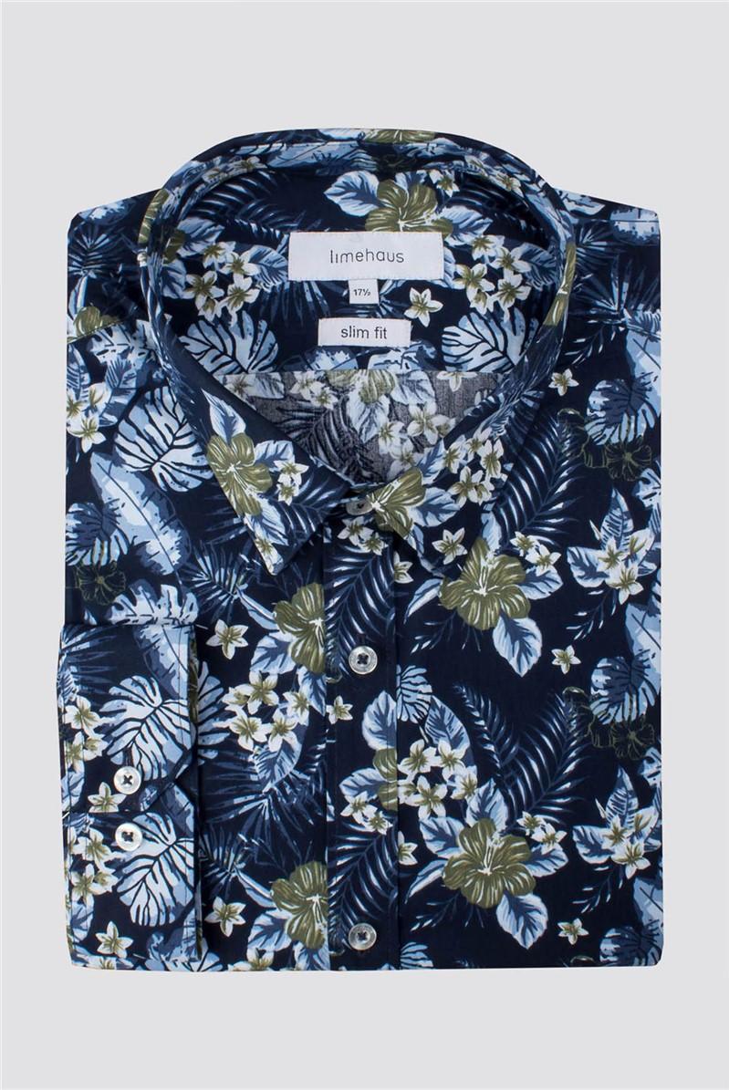Navy Hawaiian Print Shirt