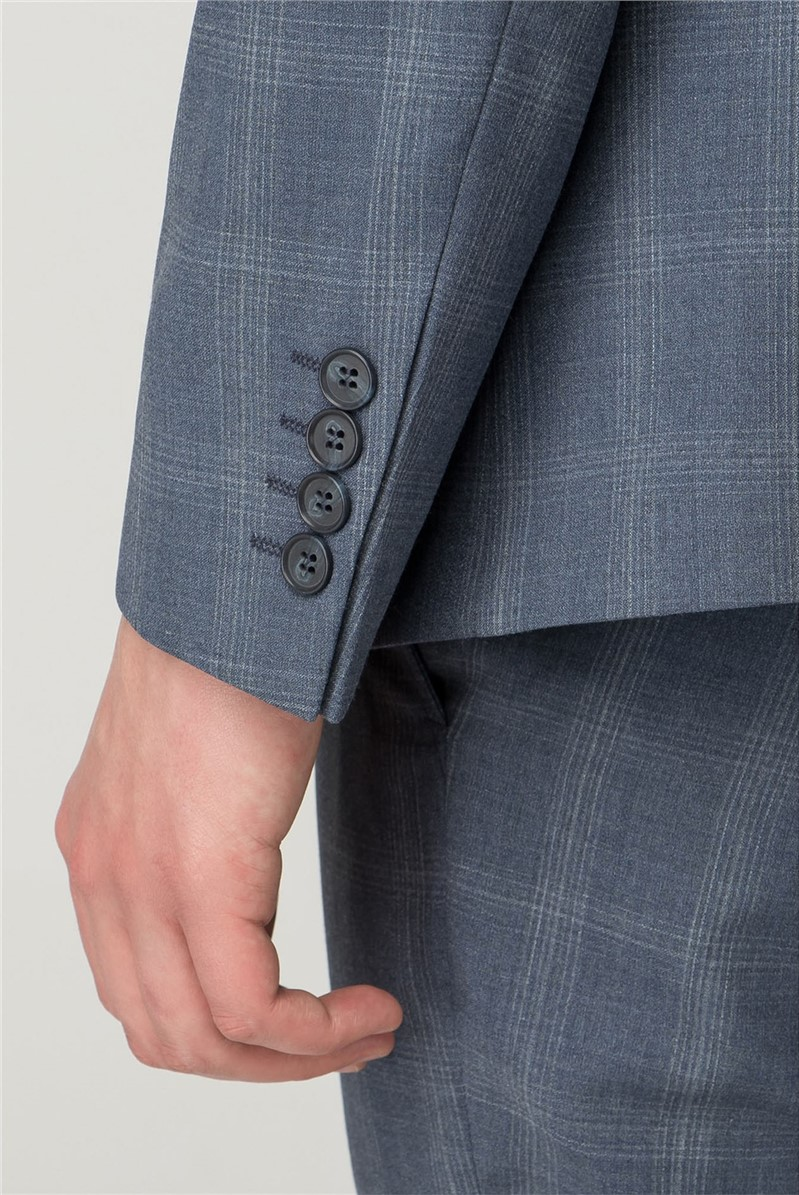 Slate Blue Check Skinny Fit Trousers