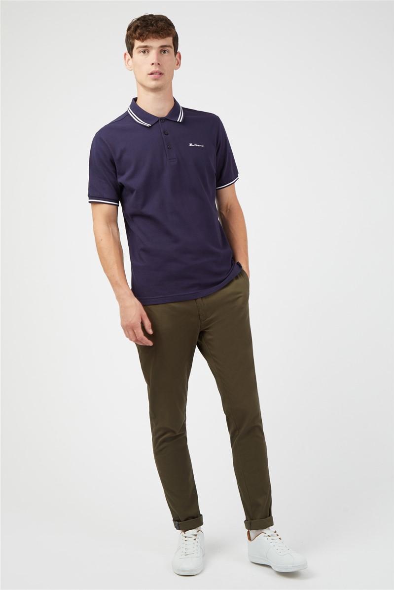 Navy Blue Romford Tipped Polo Shirt
