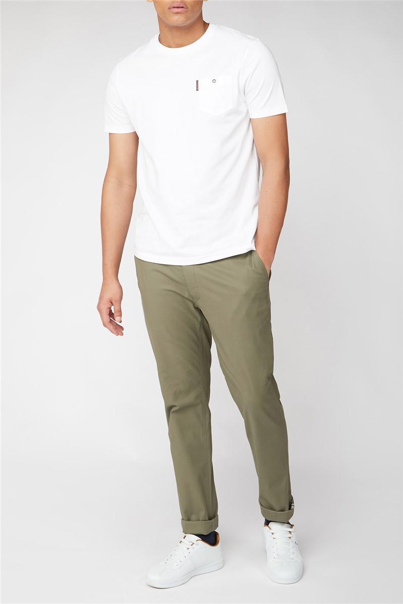 Men's White Plain Pocket Lounge T-Shirt