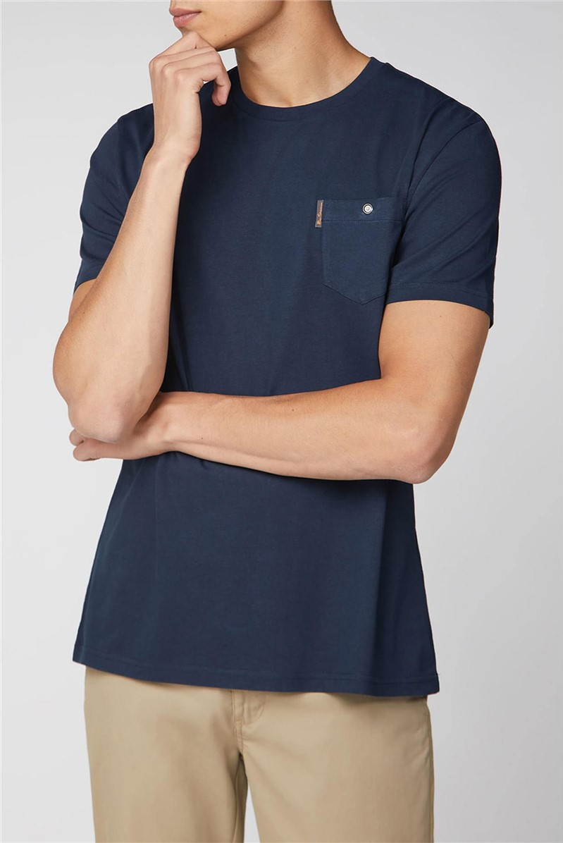 Navy Blue T-Shirt with Chest Pocket