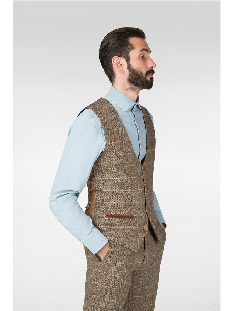 Blake Tan Tweed Check Slim Fit Suit