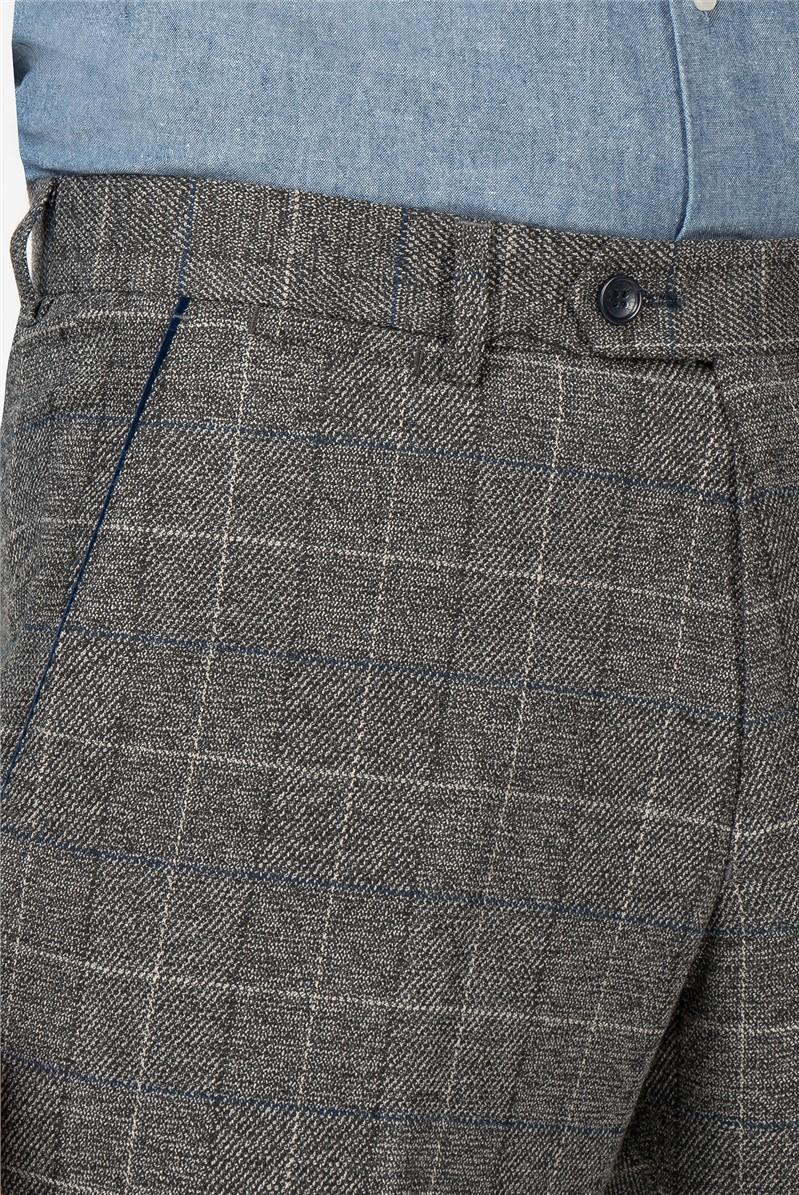 Scott Grey Tweed Check Slim Fit Trouser