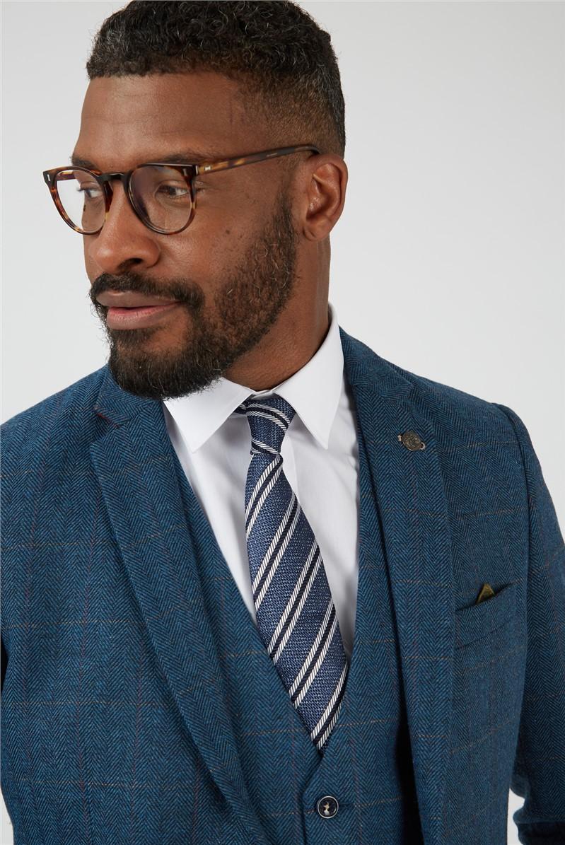 Dion Blue Herringbone Check Slim Fit Mens Suit