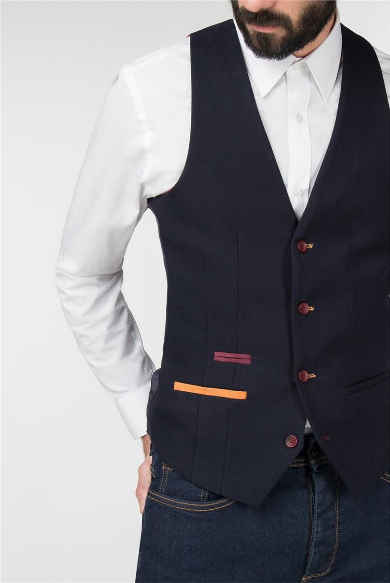 Navy Piquet Textured Slim Fit Waistcoat