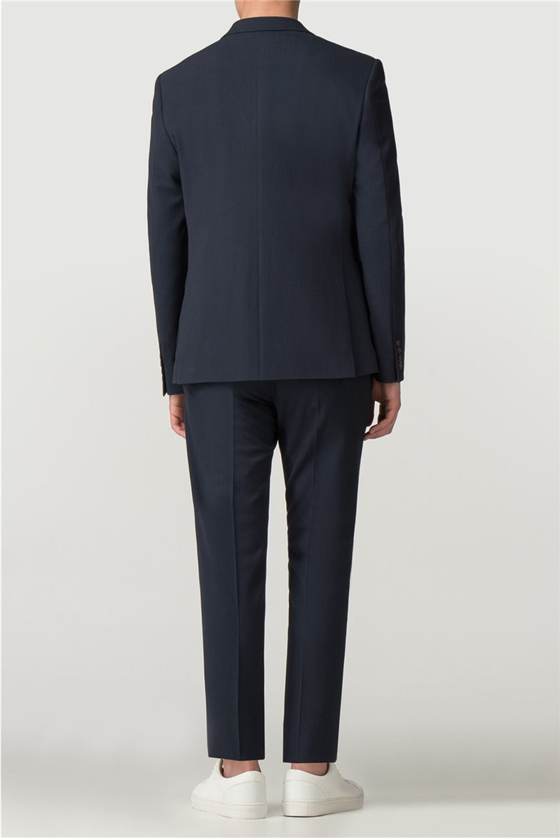 Navy Seersucker Skinny Fit Suit