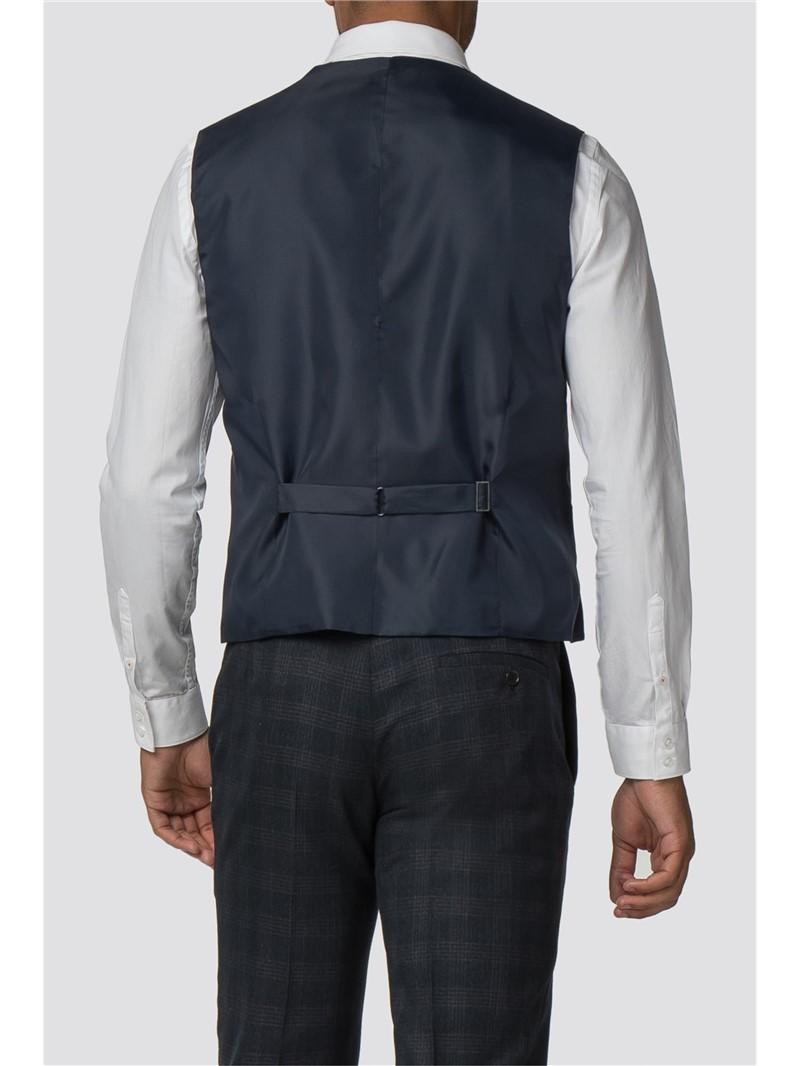 Navy Check Slim Fit Waistcoat