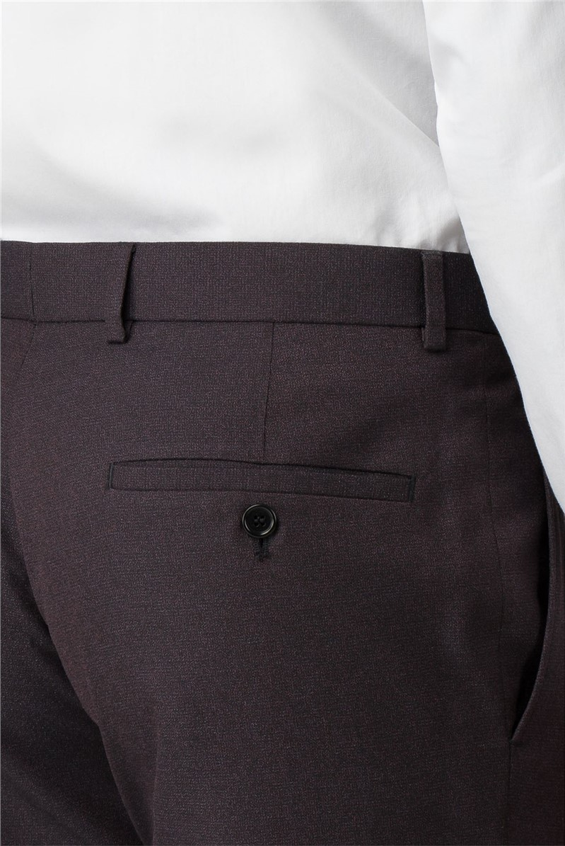 Burgundy Texture Slim Fit Trousers