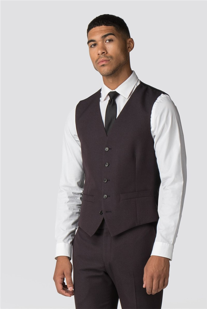 Burgundy Texture Waistcoat