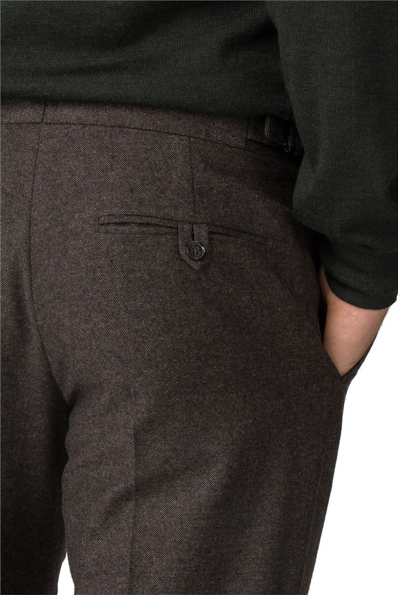 Brown Donegal Tailored Fit Trousers
