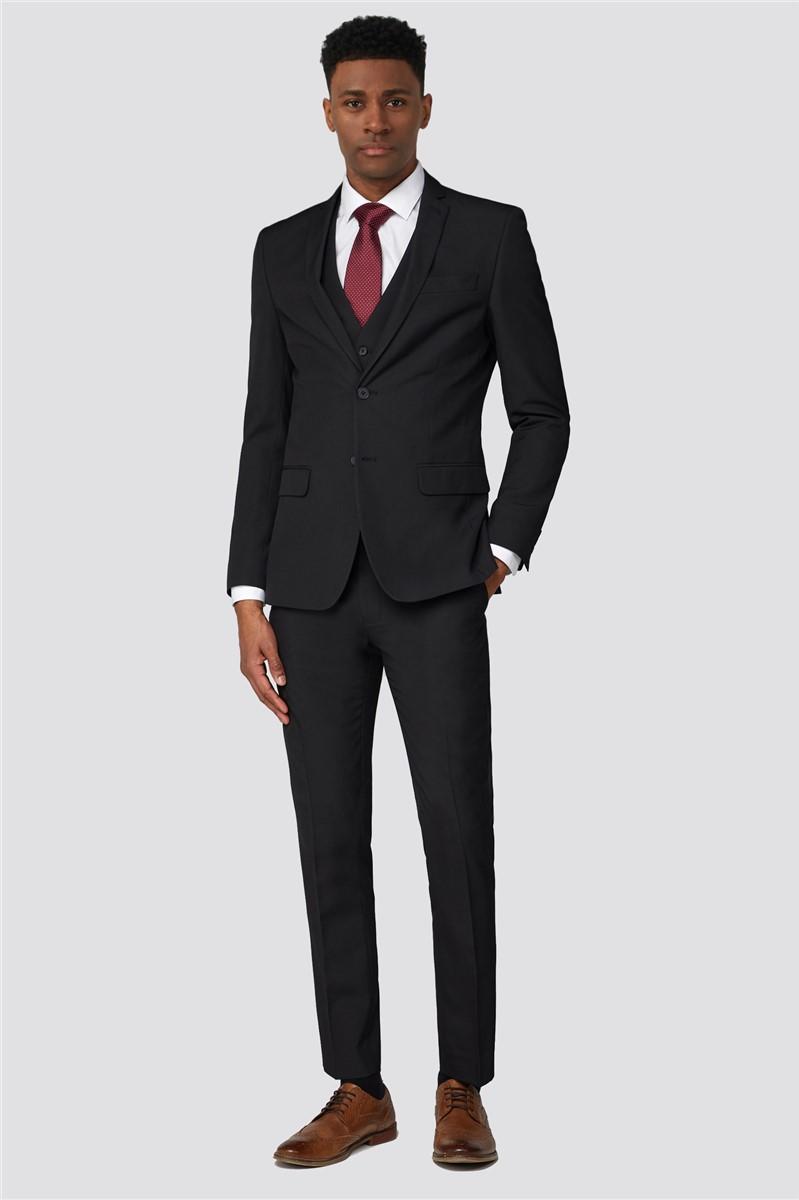 Black Plain Slim Trousers