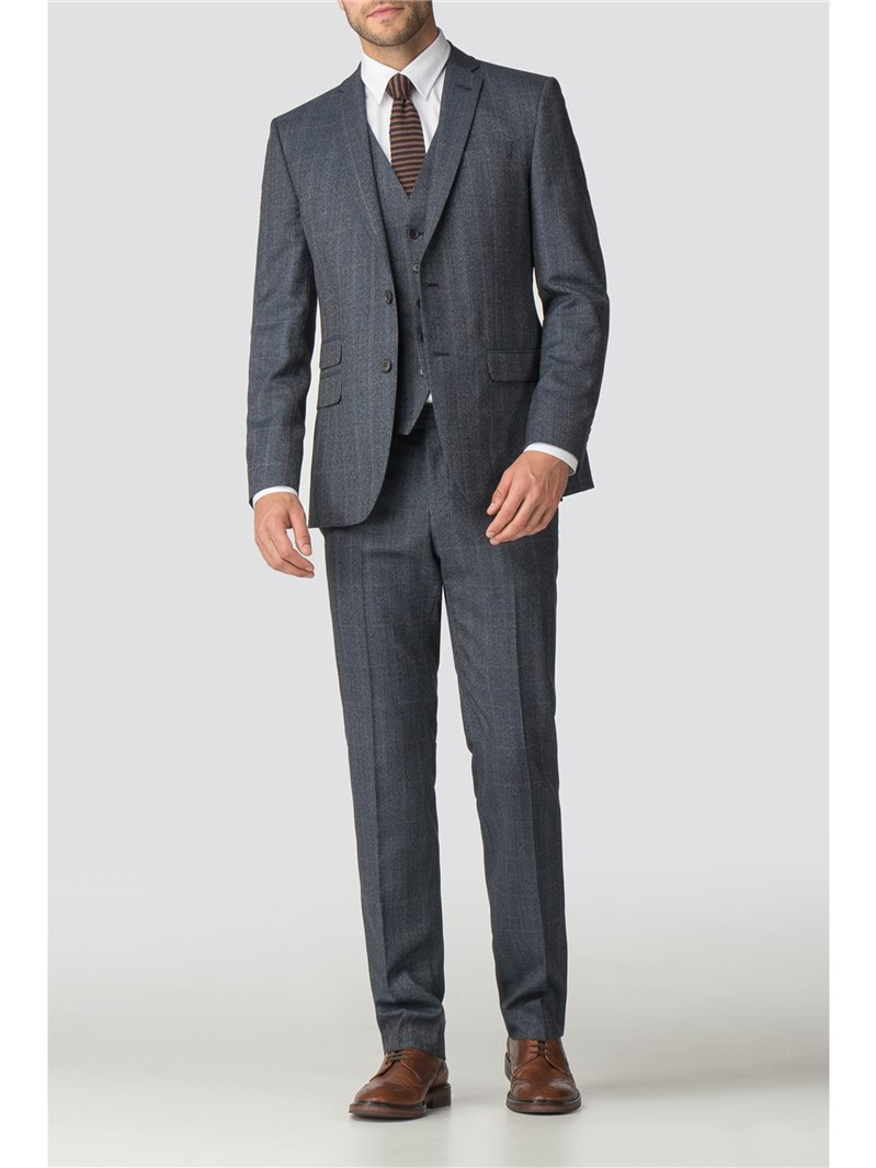 Blue Heritage Check Athletic Fit Trousers
