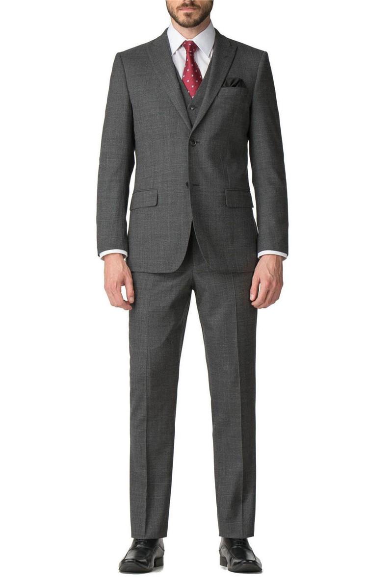Grey Check Regular Fit Travel Suit Trouser