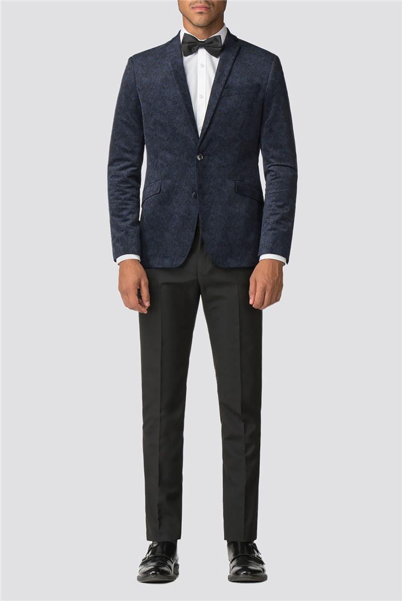 Navy Printed  Skinny Fit Men's Velvet Blazer