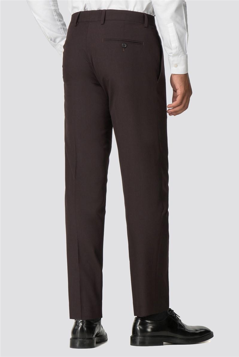 Branded Burgundy Slim Fit Suit Trousers