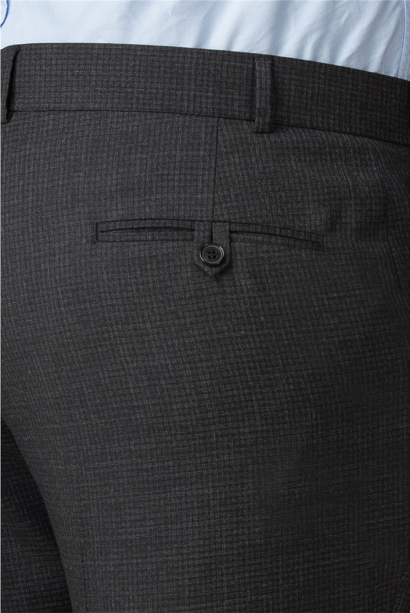 Big and Tall Charcoal Micro Check Trouser