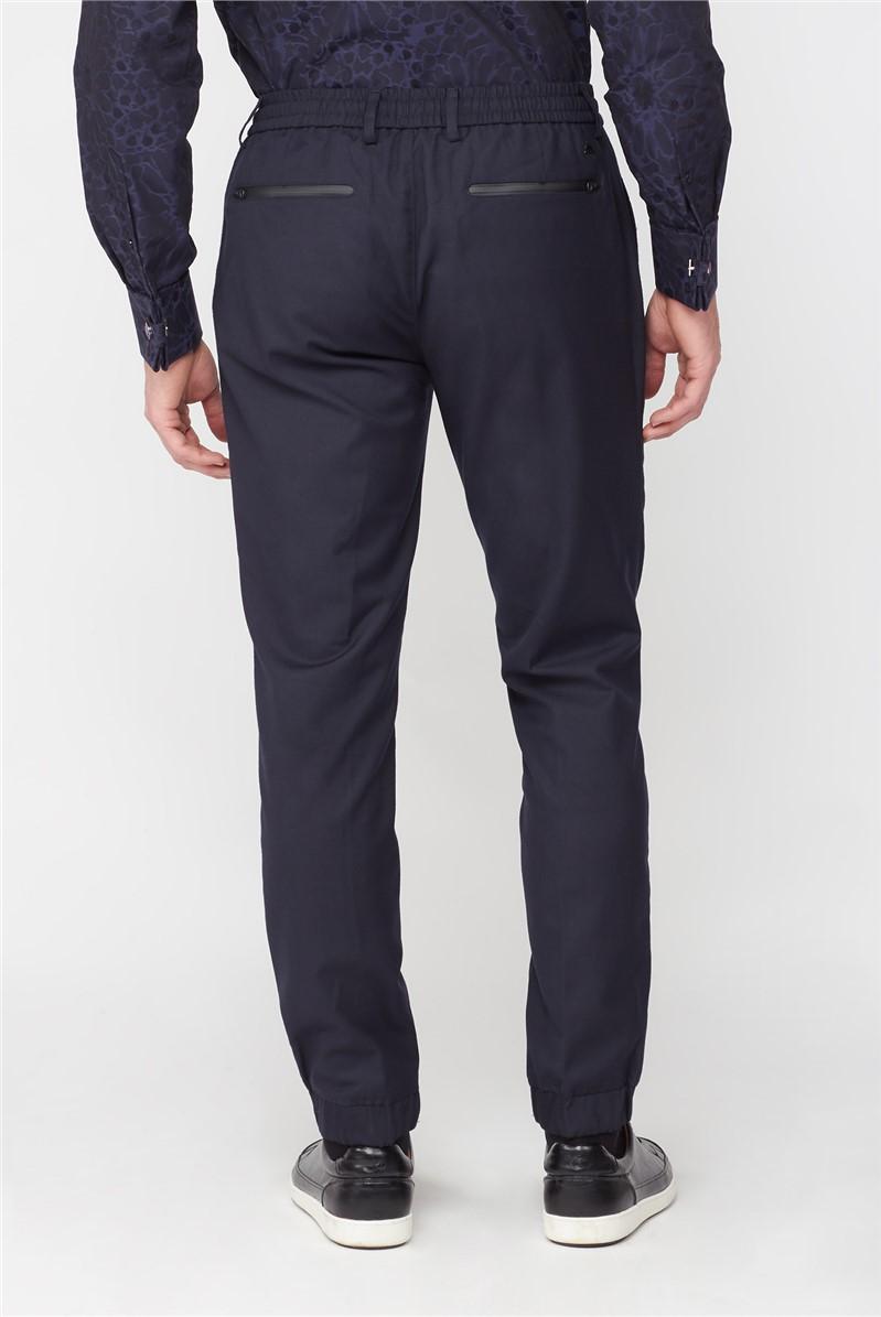 Navy Elasticated Hem Trousers