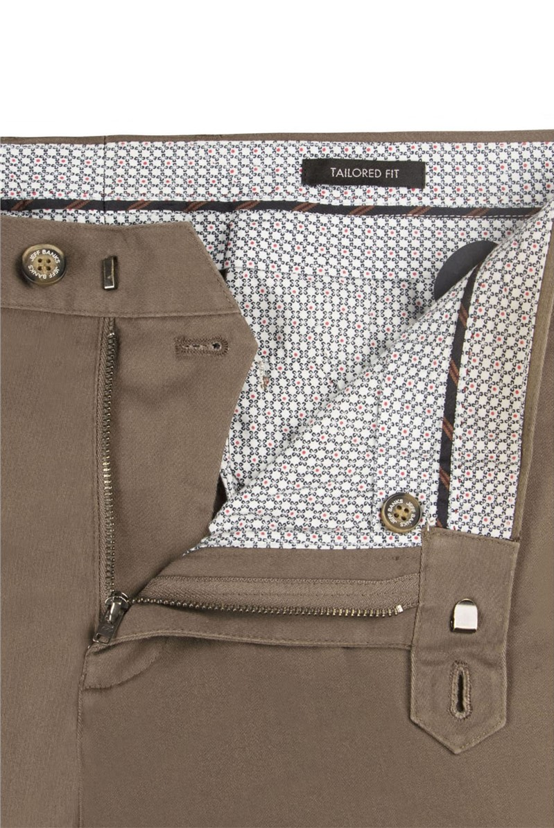 Beige Stretch Cotton Chino Trousers